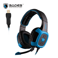 SADES USB Connectors Gaming Headset Virtual 7 1 Surround Sound And Vibration Function Headphones Over Ear