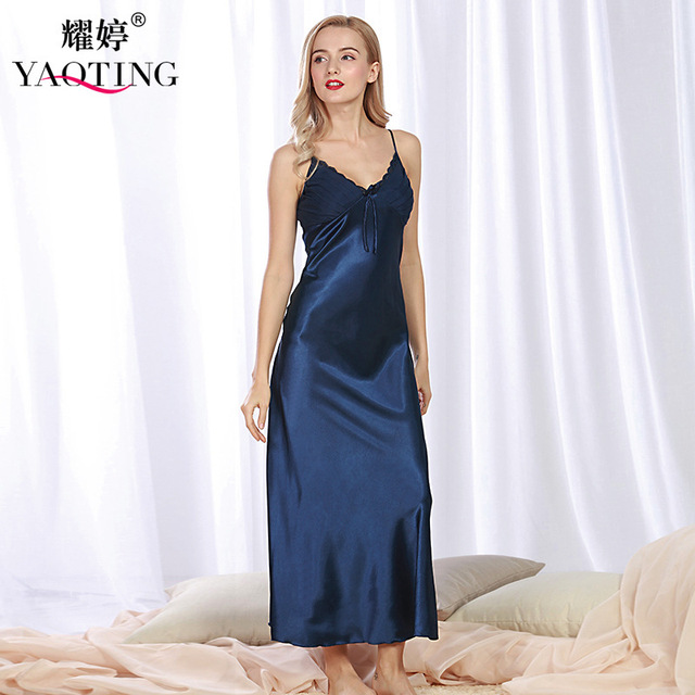 3479e842874 HI BLOOM Summer Newest Long Silk Luxury Maternity Robe Strap Dress V-Neck  Pregnancy Mexi Clothes Home wear Sexy Pajamas