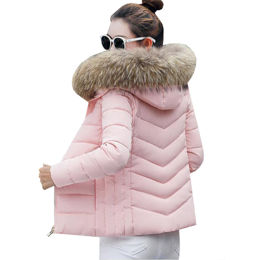 New Women Down Cotton Padded Coat Winter Hooded Large Faux Fur Collar   Parka   Coats Warm Thick Short Jacket Female Outwear AB668