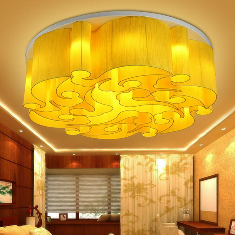Chinese-style ceiling lamp circular atmosphere living room hotel engineering restaurant fabric lamps Chinese style led lighting chinese style wood chandelier living room restaurant hotel aisle hotel retro lighting light e27 1 3 heads lamps za323440