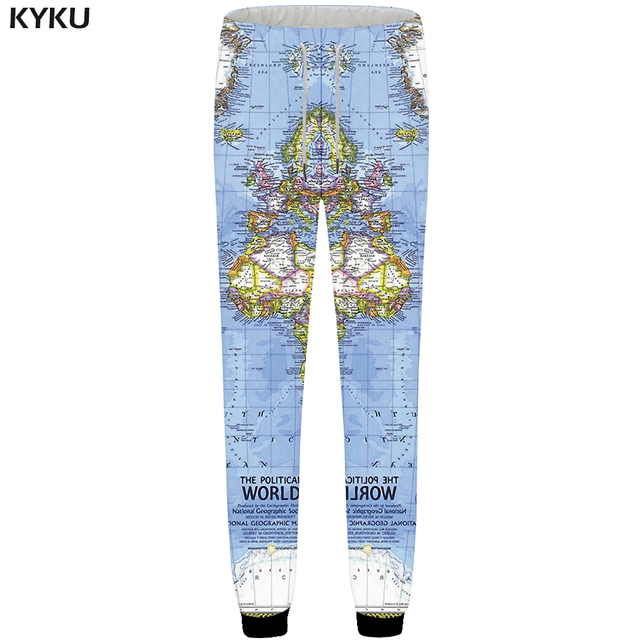 6e6c25708264 KYKU World Map Sweatpants Men Blue Jogger pants Anime 3d Print Pants  Colorful Bodybuilding Hip Hop Mens Trousers Casual Britches