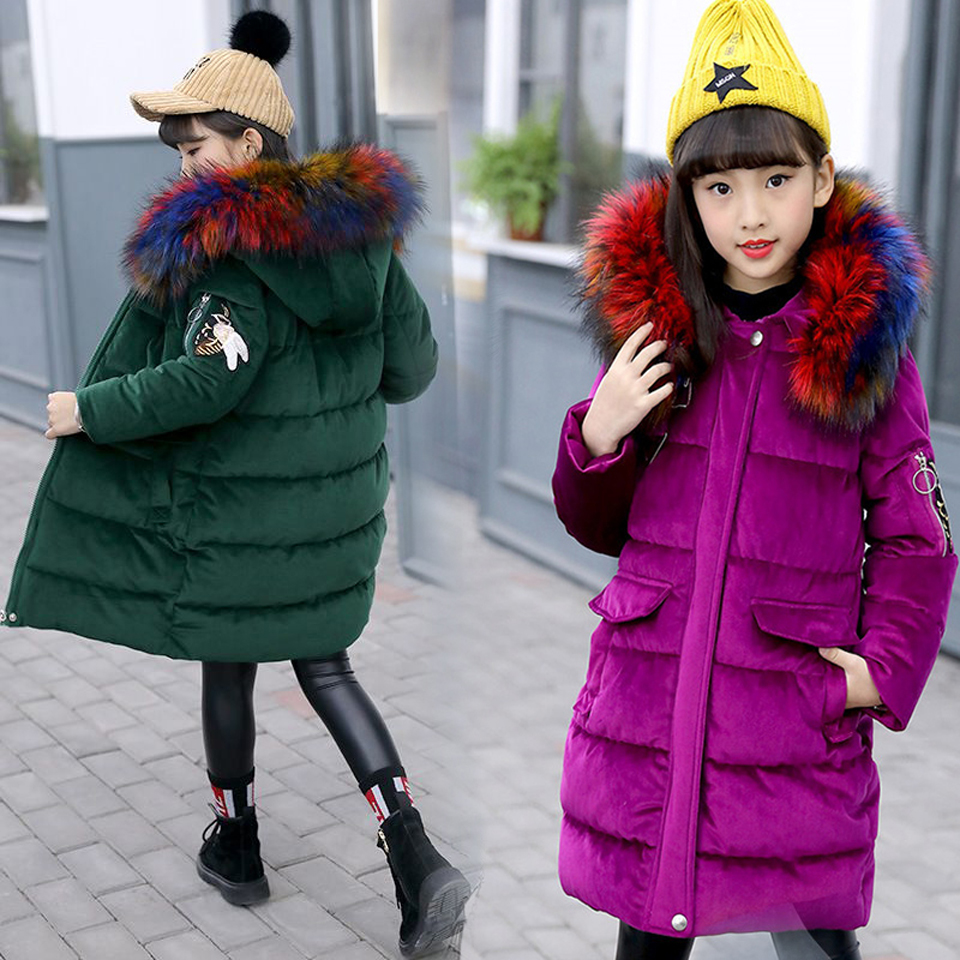 Girls Down Coat Long Children Kids Parka Jackets 2018 Warm Teenage Girls Winter Coats with Big Fur Hooded Size 6 8 10 12 14 new 2017 men winter black jacket parka warm coat with hood mens cotton padded jackets coats jaqueta masculina plus size nswt015