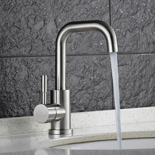 SSY Hot Cold Basin Faucet 304 Stainless Steel Bathroom Sink Faucets Brushed  Finish Mixer Water Taps