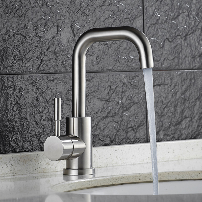 SSY Hot Cold Basin Faucet 304 Stainless Steel Bathroom Sink Faucets Brushed Finish Mixer Water Taps Single Handle Double Control