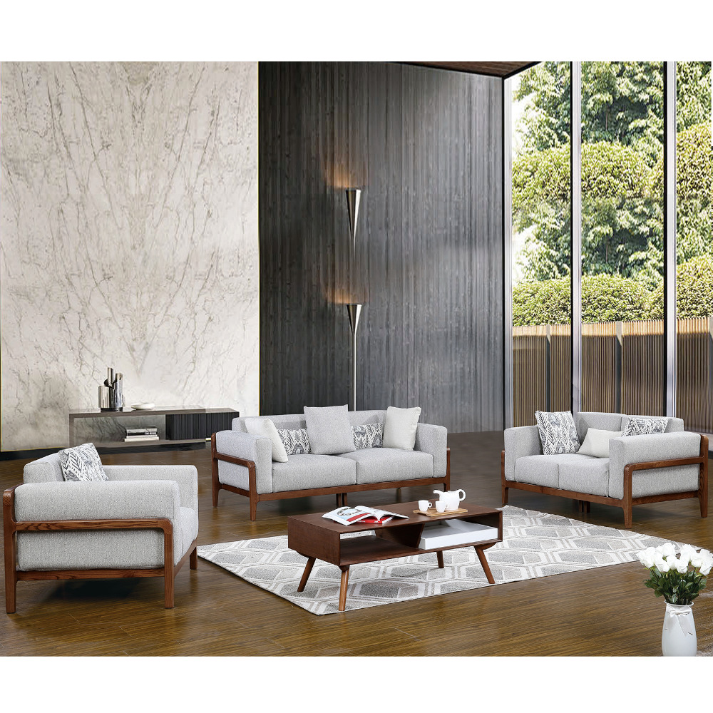 1801b61 europe style sectional fabric soft comfortable modern living room solid wood sofa set livingroom furniture