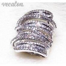 20ct Vecalon Antiguo Gran anillo Mujeres de Los Hombres de La Joyería de diamantes Simulados Cz 925 Plata de Ley de Compromiso anillo de boda para las mujeres