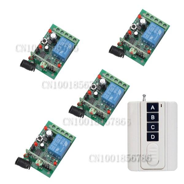 220 V 1CH (Canal) comutador sem fio sistema de interruptor de controle remoto & controlador 4 Receptor & 1 Transmissor 1000 W Alternar/Momentânea
