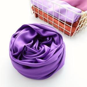 Image 3 - One piece solid plain shinny hijab scarf islam shawl head wraps soft silk feeling long muslim hijab malaysia satin plain hijabs