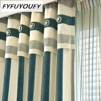 Mediterranean Striped Curtains For Living Room Black Out Curtain For Bedroom High Grade Massiness Soft Charpie