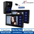 "7"" inch LCD Video Door Phone intercom Doorbell RFID Carder 1 Camera + 2 Monitor with Door Button"