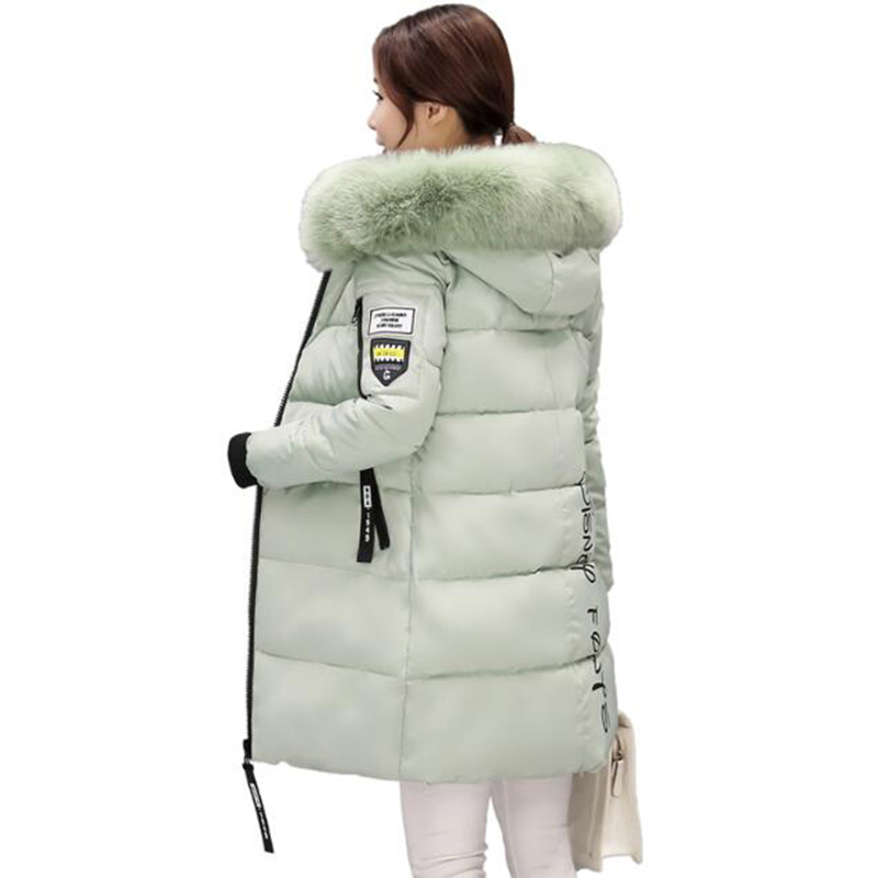 2017 Winter Coat Women Long Cotton Jacket Parka Fur Hooded Cotton-Padded Thick Warm Coats Women Wadded Jackets Plus Size LU378
