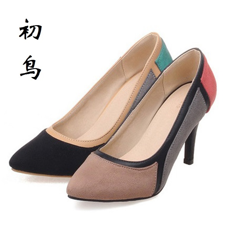 2017 Size 32-43 Fashion Splicing color Sexy High Heels Women Pumps Ladies Office Shoes Woman Wedding Shoes Chaussure Femme Talon 2017 small size 31 43 fashion simple sexy high heels women pumps ladies office shoes woman chaussure femme talon mariage 32 33