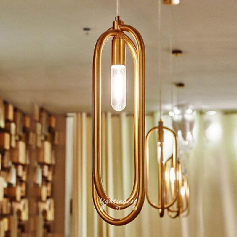 Poste moderno hotel club restaurante colgante frontal Luz de acero inoxidable anillo simple personalidad colgante luz CL FG287