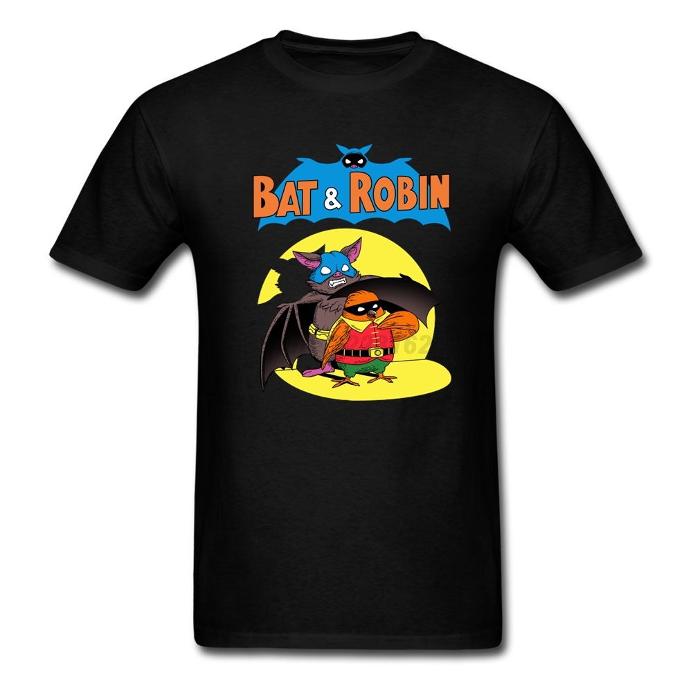 US $12 72 OFF Kelelawar Dan Robin Tshirt Batu N Roll Desain Untuk Dewasa Pria Kerah Bulat T Shirt Kain Asli Kartun Lucu Kostum Rock N
