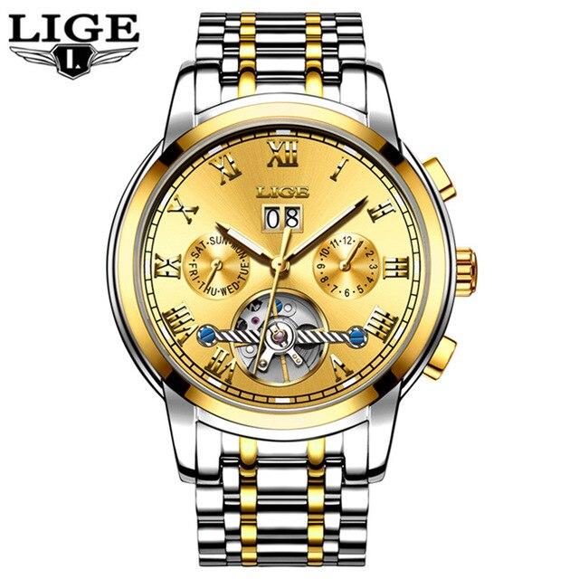 Watches Men Business Luxury Sport Automatic Date Mechanical Steel Watch Luminous Mens Tourbillon Top Brand Wristwatch