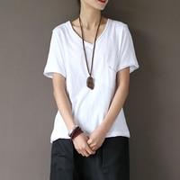 V Neck 100 Cotton Pocket Solid White T Shirt Women Causal Summer T Shirt White Slim