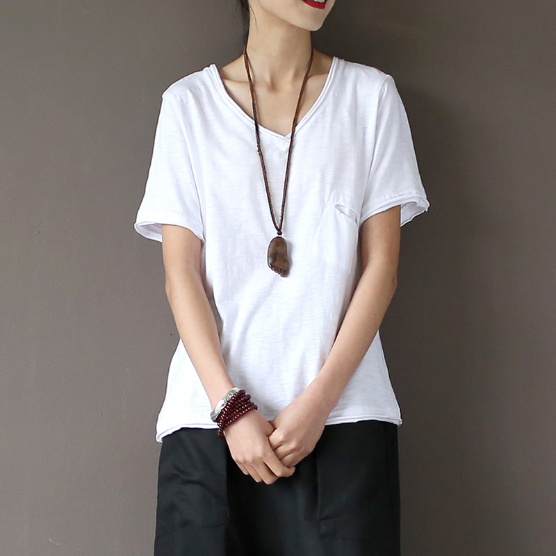 V Neck 100 Cotton Pocket Solid White T Shirt Women Causal