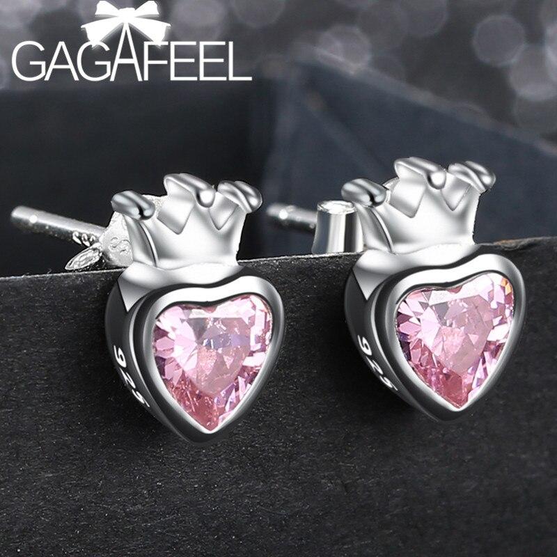 0ead5e1dac1c Pendientes de broche de corazón rosa de cristal de circonita de Plata de  Ley 925 pendientes de joyería para mujer dulce regalo romántico