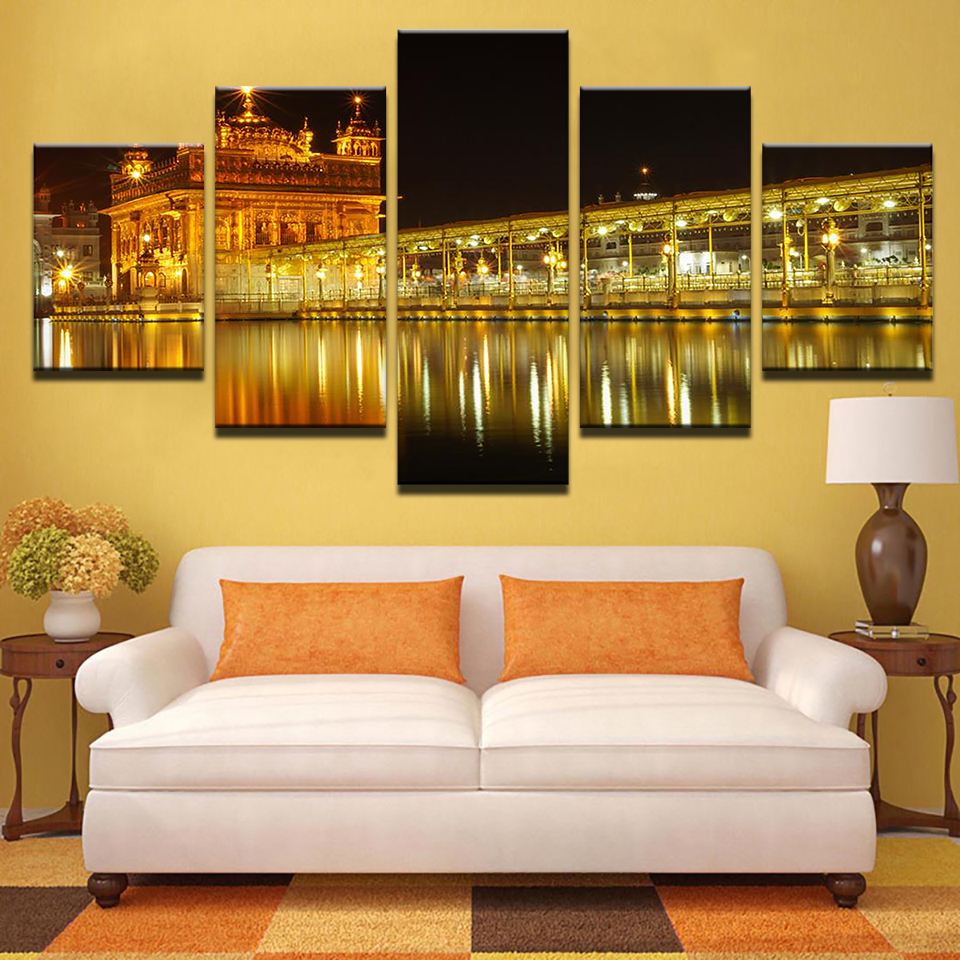 Artyryst Wall Art Canvas HD Printed Painting Modular Home Decor Pictures 5 Pieces Beautiful Golden Temple At Midnight Poster