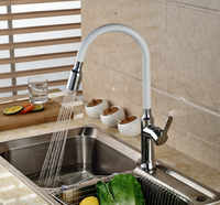 Chrome White Pull Out Sprayer Kitchen Sink Faucet Deck Mount Tall Rotation Mixer Taps Hot And