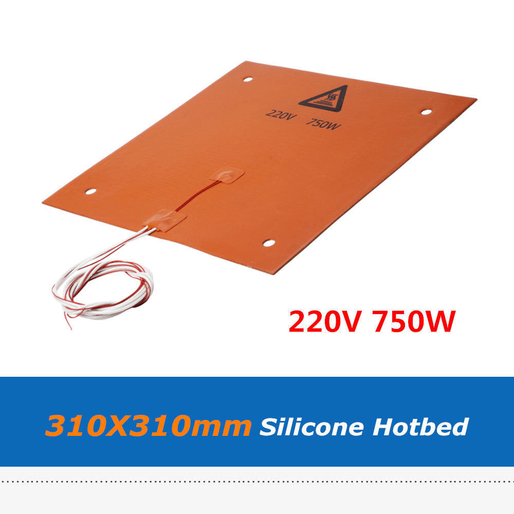 1pc 3D Printer Parts 310*310mm 220V 750W Silicone Heater Pad With Holes, Silicone Heatbed With 3M adhesive Tape For CR 10