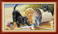 Radość Niedziela Trzy psy Drukowane na Płótnie DMC Counted Cross Stitch Zestawy wydrukowano Cross-stitch zestaw Haft Robótki