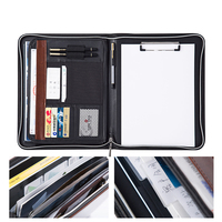 CAGIE A4 File Zipper Folder Multifunction More Data Pockets Padfolio Pu Leather Office Include Clipboard Manager