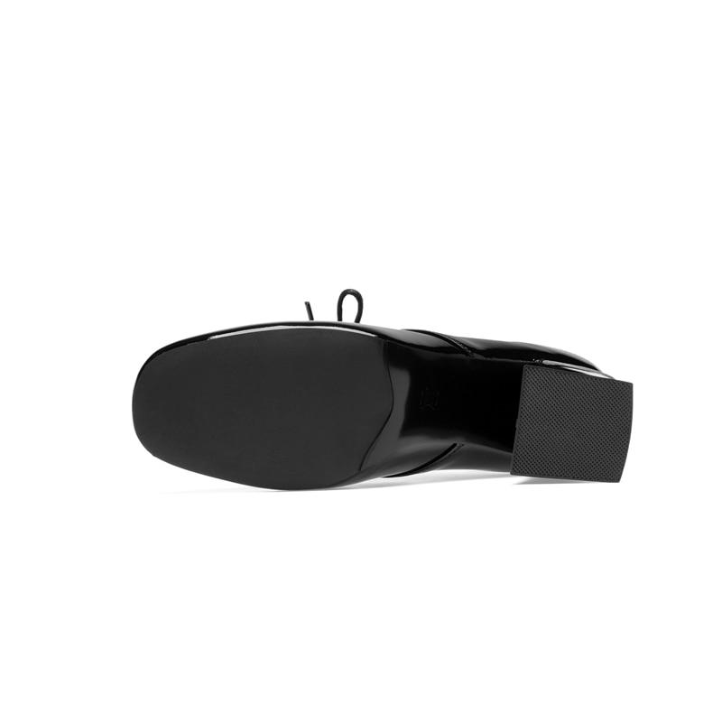 Bout Zapatos White Pompes Chaussures 2018 Femmes Véritable Reave Automne Concise Chat De En black Cuir Printemps Rétro Carré A1541 Mujer AR54Lj
