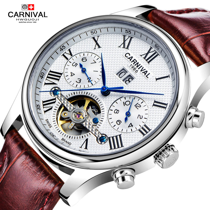 Carnival Watch Men tourbillon Automatic Mechanical Stainless Steel Waterproof multifunction Leather Roman Dial White Watches