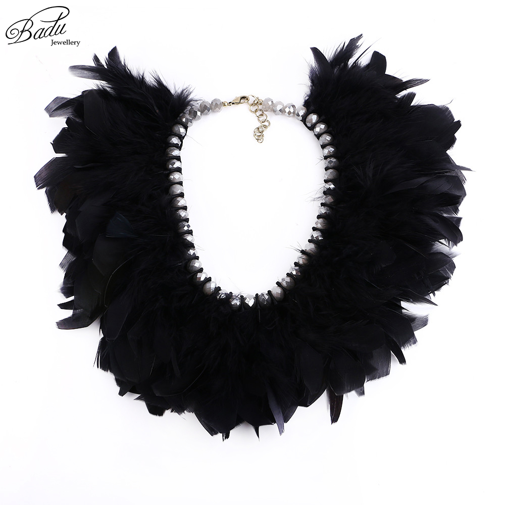 Badu Statement Necklace Black Feather Fashion Necklaces Party Jewelry Handmade Exaggerated Christmas Winter Accessories
