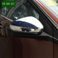 car styling decoration rear view Rearview Side glass Mirror Cover trim frame lamp 2pcs For Peugeot 3008 / 4008 2016 2017 2018