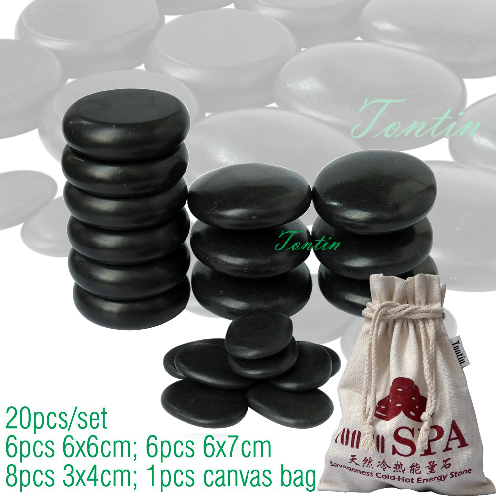 TONTIN Hot Massage Energy Body Basalt Stone Set Beauty Salon SPA with Thick Canvas Bag CE and ROHS 20pcs per set collection privēe водолазки