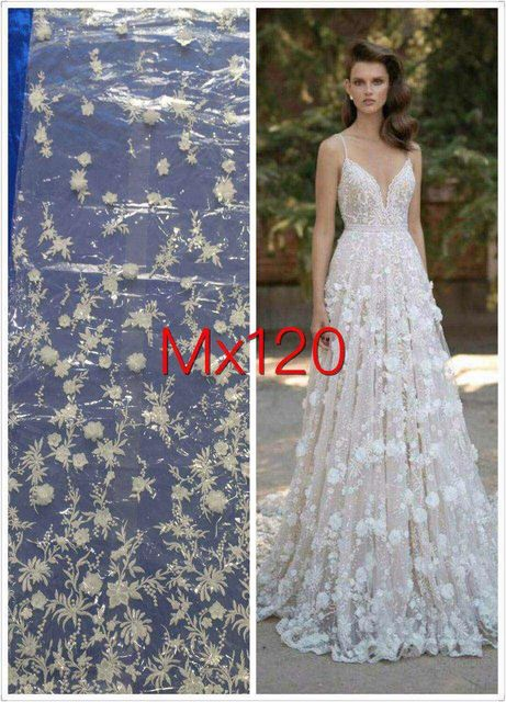 5yards 3D Applique Beaded Embroidery Wedding White Sexy Tulle Mesh Lace  Fabric For Wedding Dress/