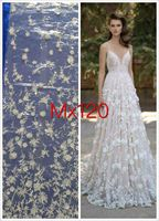 5yards 3D applique Beaded embroidery wedding white sexy tulle mesh lace fabric for wedding dress/evening dress,ship by dhl