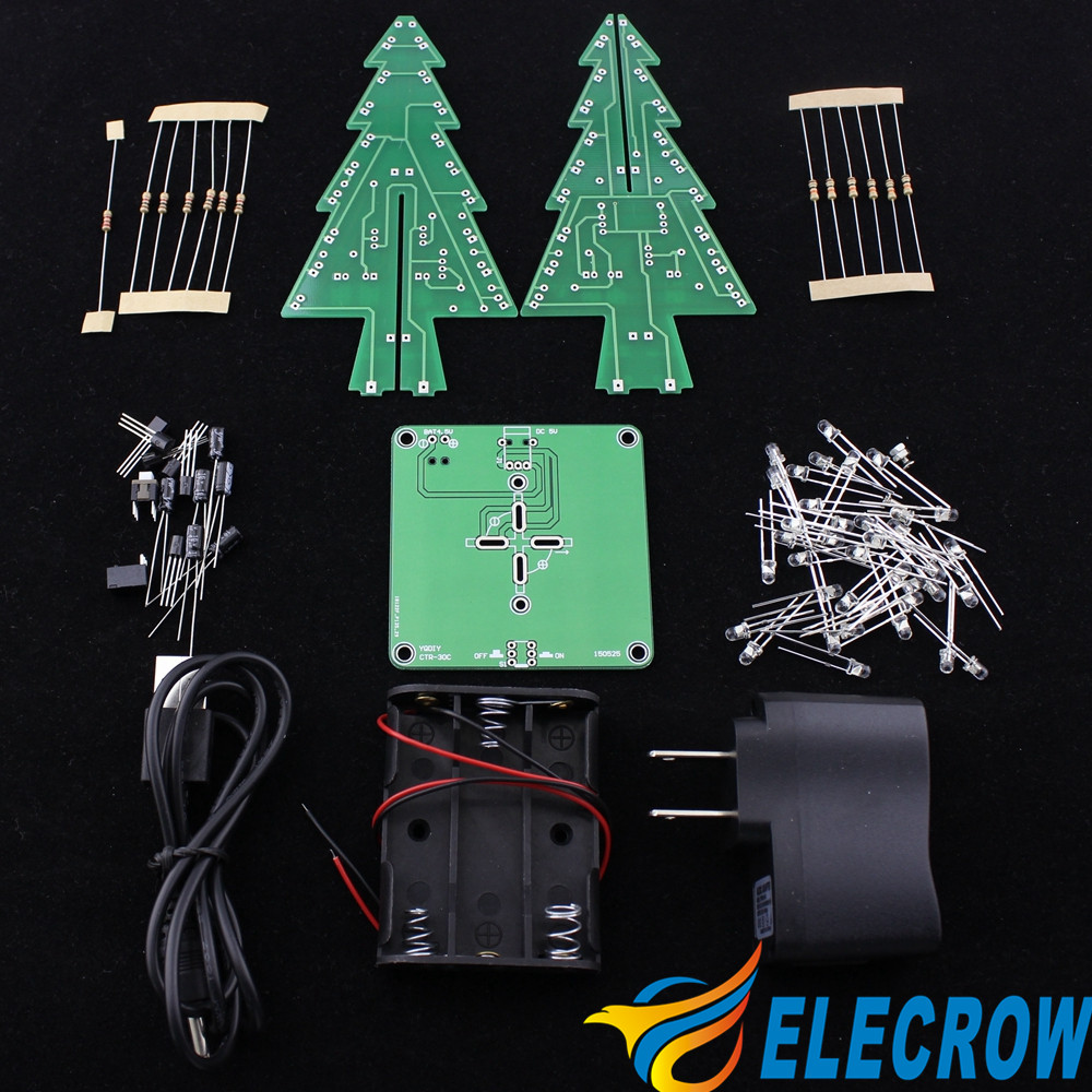 Elecrow Flashing Led Christmas Tree Electronics Kit Circuit 7 Color Flashers Circuits And Projects 24 Gifts Items Diy High Quality In El Products From Electronic