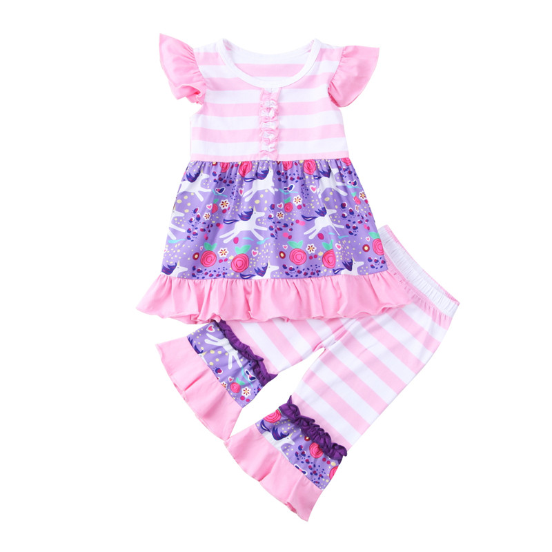 Toddler Baby Girls Clothes Set Autumn Short Sleeve Blouse Striped Pants Unicorn Girl Clothing Cotton Cute Outfits Flower 2PCs 2pcs clothes set baby boy girl dinosaur character short sleeve top striped shorts outfits children clothing