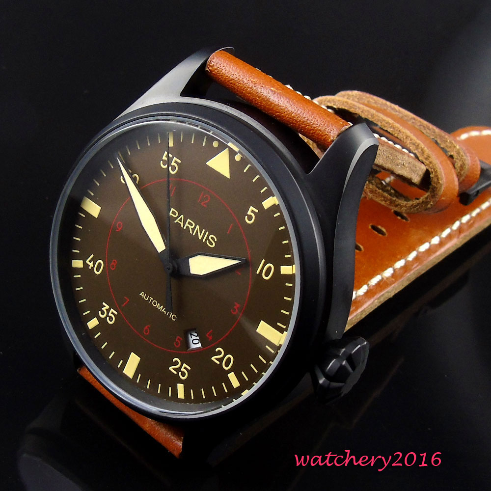 47mm parnis Brown dial Black PVD case 2017 Newest Hot Leather strap Luminous 21 jewels miyota automatic Mechanical mens watch47mm parnis Brown dial Black PVD case 2017 Newest Hot Leather strap Luminous 21 jewels miyota automatic Mechanical mens watch