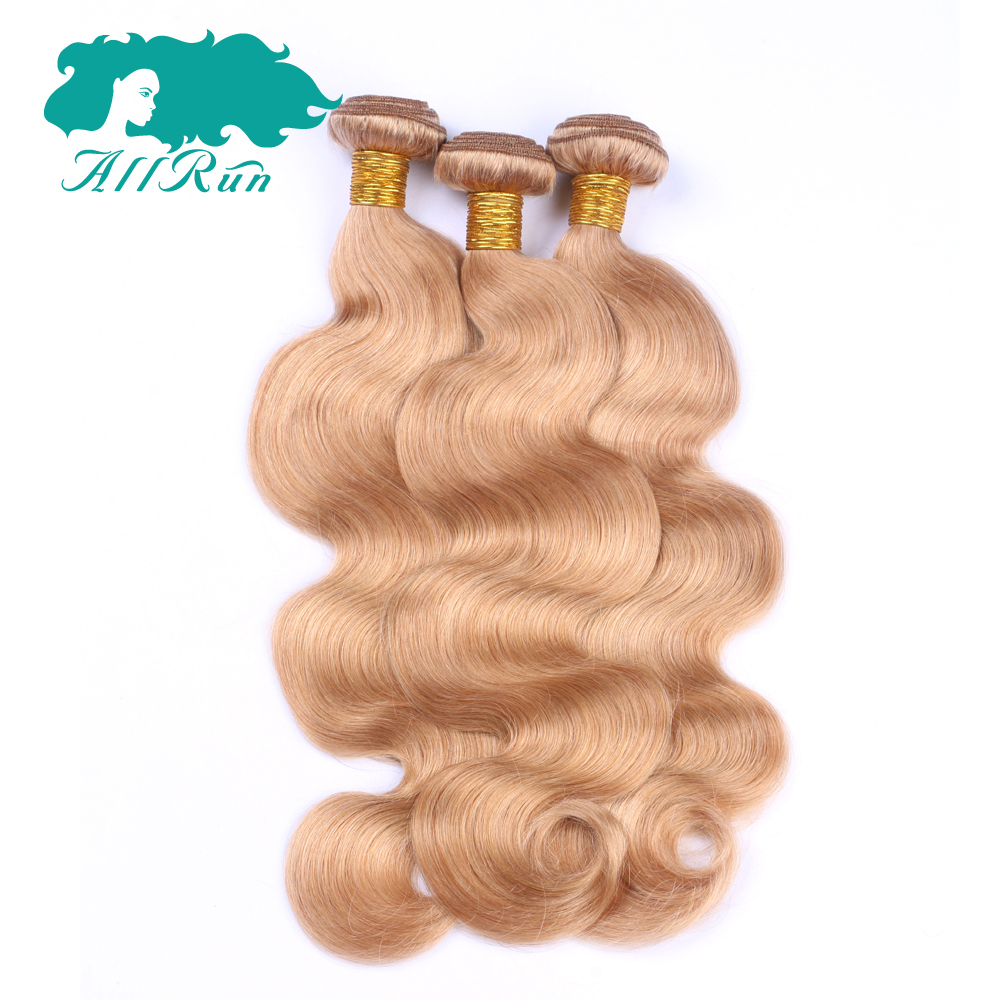 Allrun Hair Pre-Colored Non-Remy Hair Peruvian Human Hair Weave Body Wave #27 Color 3 Piece Hair Bundles 10-26inch Free Shipping