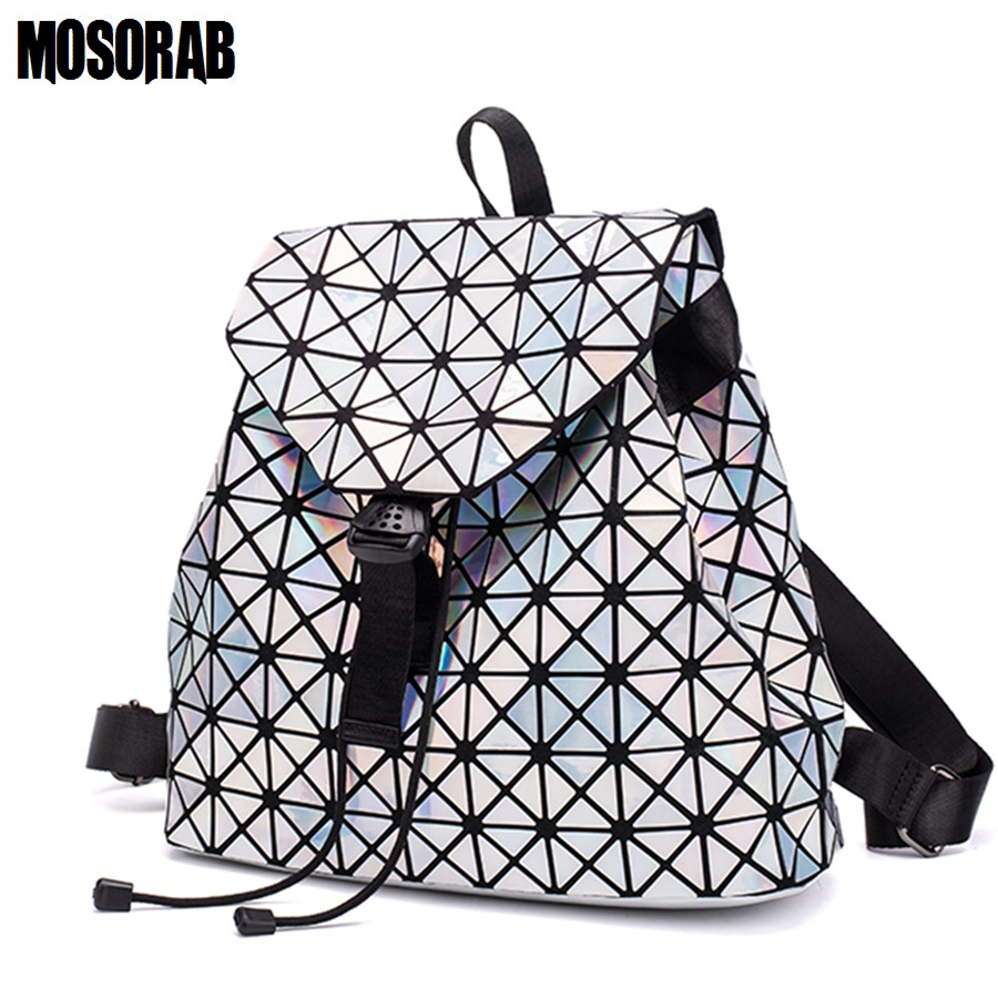 купить MOSORAB Fashion Drawstring Design Holographic Laser Women Backpack Geometric Diamond Backpack Travel Back Bag For Men Sac A Dos недорого