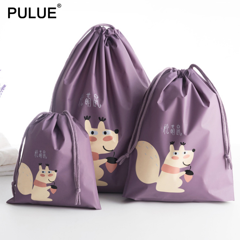 1pcs Cartoon Waterproof Drawstring Bags Women Luggage Packing Oraganize Pouch Portable Shoes Bags Clothes Underwear Cosmetic Bag