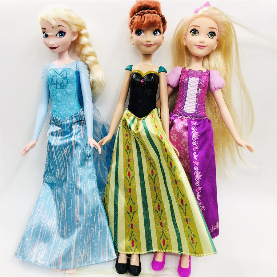 New Original Girls Princess Long Hair Elsa Anna Princess Dolls Toy Lovely Doll Christmas Gift