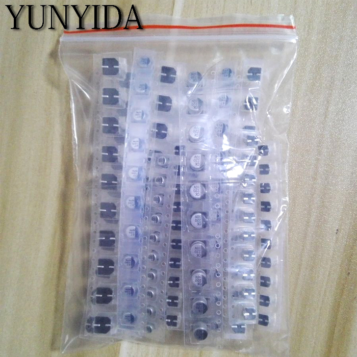 130pcs/LOT 1uF-220uF SMD Aluminum Electrolytic Capacitor Assorted Kit Set, 13values*10pcs=130pcs Samples Kit