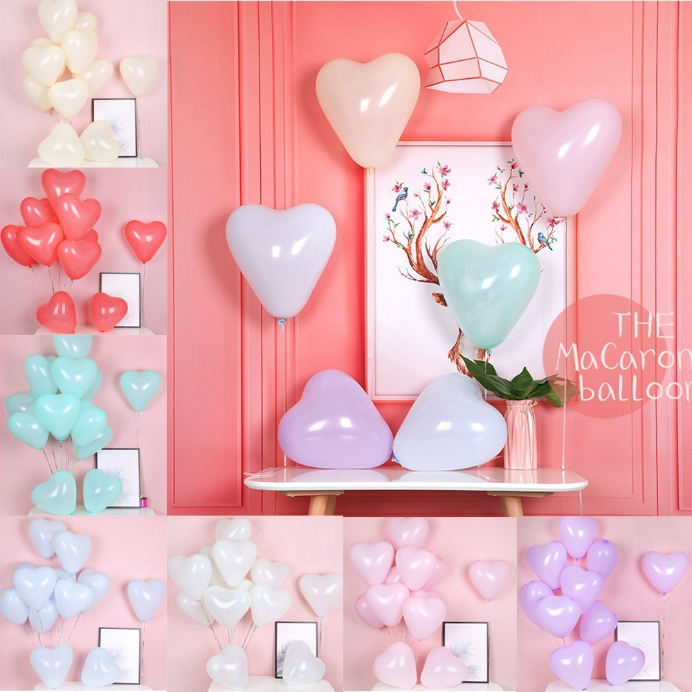 10pcs 10inch Macarons Color Heart Latex Balloons Wedding Decorations Helium Globos Birthday Party Adult Kids Toy