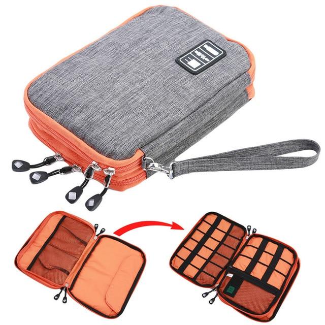 5dbf6c93e352 Waterproof Storage Bag organizer USB data cable earphone wire pen power  bank travel storage bag kit case digital gadget