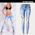 Jeans Mujer Plus Tamaño Pantalones de Las Mujeres 2017 del Resorte Pantalones de Mezclilla de Europa Y América Hot Sexy Cielo Abierto Del Cordón Costura Delgado Pies