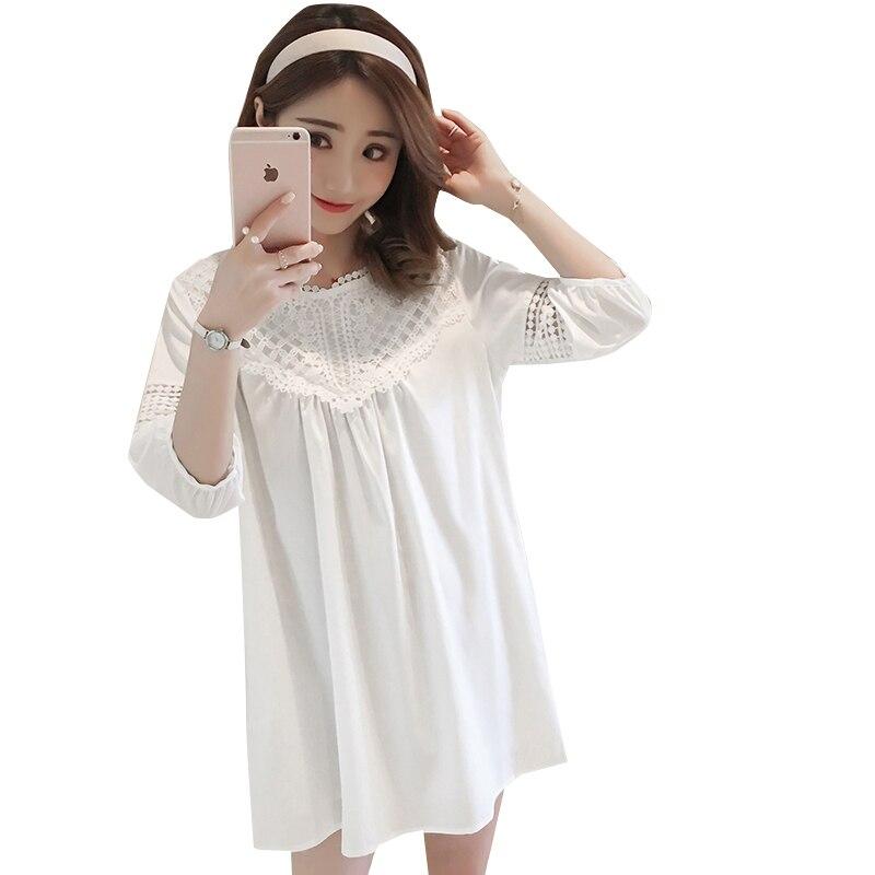 Pregnancy Wear Summer Maternity Clothing Pregnant Woman White Dress Pure Color Chiffon Dresses Lace Dress Plus Size