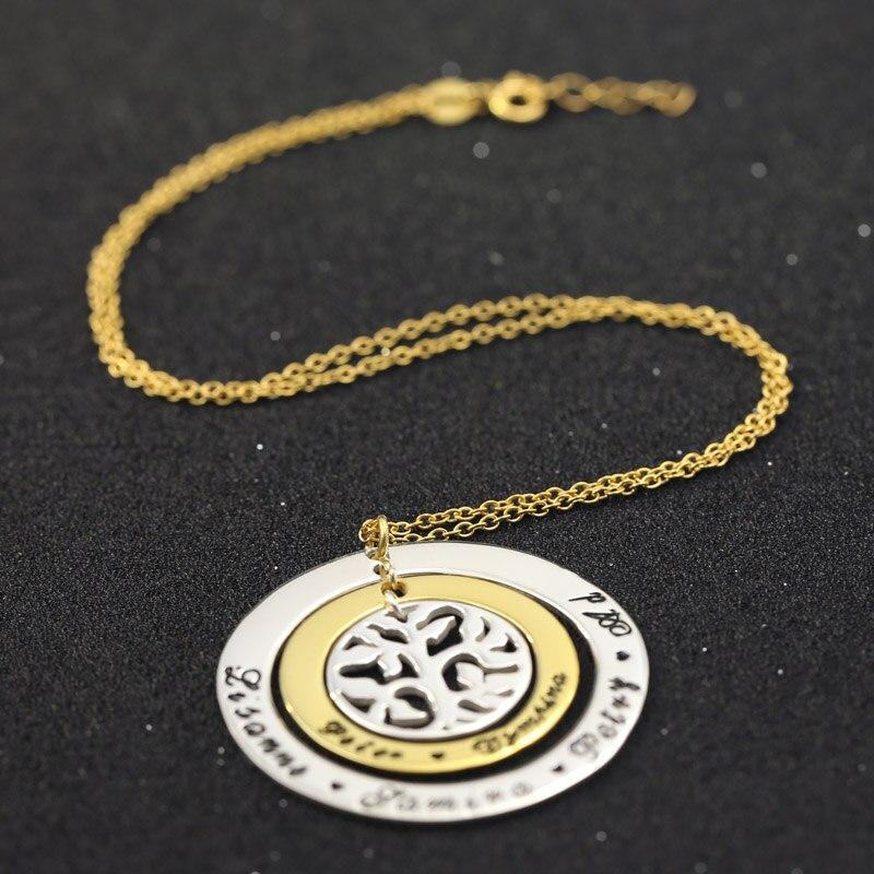 Collier arbre d'amour familial personnalisé 925 pendentif nom gravé or massif collier trois pendentifs