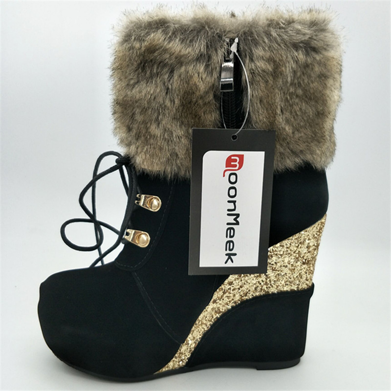 4d84959a7142 MoonMeek New arrive wedges mature appointment round toe women winter boots  fashion zip platform skid resistance ankle boots-in Ankle Boots from Shoes  on ...
