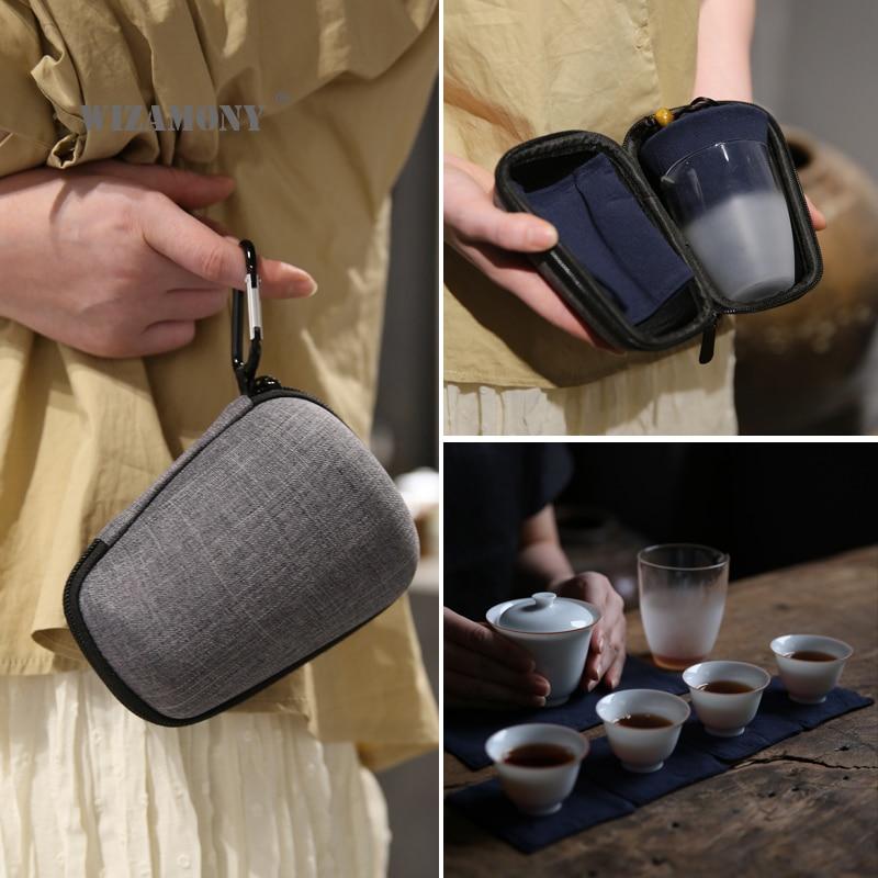 WIZAMONY potovalna torba kitajski kung fu čajni set gaiwan čajnik - Kuhinja, jedilnica in bar