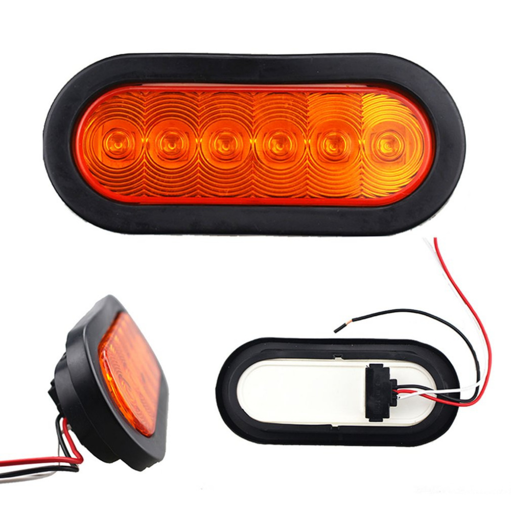2 Pieces 6LED 12V Car Truck Turn Signal Light Trailer Side Marker Indicators Lights Lamp Car Brake Marker Tail Light Waterproof